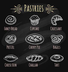 hand drawn pastries on chalkboard vector image