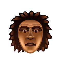 Prehistoric man face isolated on white vector image vector image