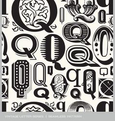 seamless vintage pattern letter Q vector image vector image