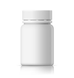 3d realistic white glossy medical plastic bottle vector