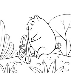 A children coloring bookpage a playing pig on the vector