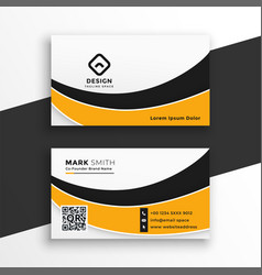 Abstract white and yellow wavy business card vector
