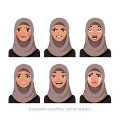 arab women character set emotions vector image