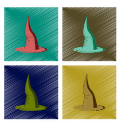 Assembly flat shading style icon witch hat vector