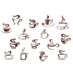 Assorted brown cups of hot coffee vector image