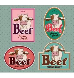 Beef vintage labels set vector image