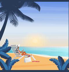 bikini girl lying on deckchair sea beach tropical vector image