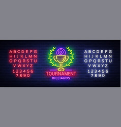 billiards tournament logo neon style neon sign vector image