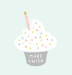 birthday greeting card cupcake with a candle vector image