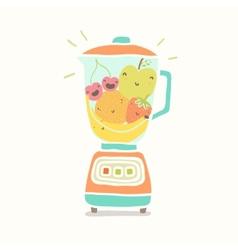 Blender full of funny fruits vector image