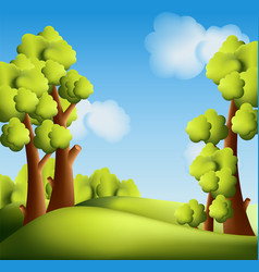 bright cartoon landscape with trees vector image