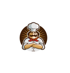 brown circle chef logo vector image