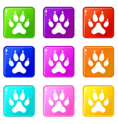 Cat paw icons 9 set vector
