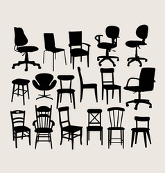 chair set silhouette vector image