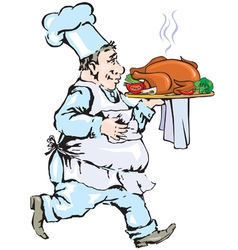 Chef carrying tray with chicken vector