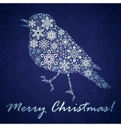 Christmas background with bird from snowflakes vector