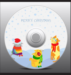 christmas cats design for cd cover vector image