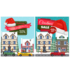 christmas sale set of posters vector image