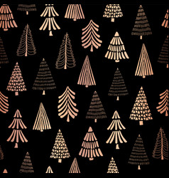 Christmas tree copper foil seamless pattern vector