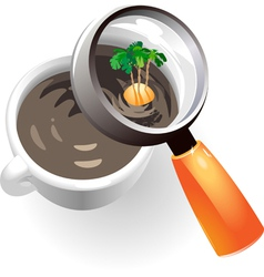 Coffee cup with tropic island vector