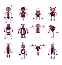 Collection of purple robot icons vector image