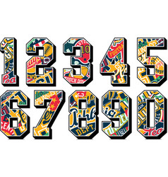 college sporting numbers set with athletic badges vector image