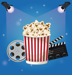 Color background spotlights with popcorn vector
