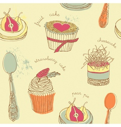 Cupcake pattern background vector image