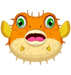 cute Blow fish cartoon vector image