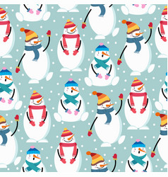 cute flat design christmas seamless pattern with vector image