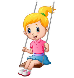 cute little girl playing a swing vector image