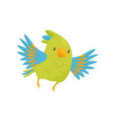 cute parrot in flying action cartoon character of vector image