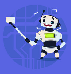 cute robot taking selfie photo modern artificial vector image