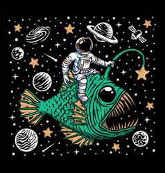 Deep sea fish and astronaut vector