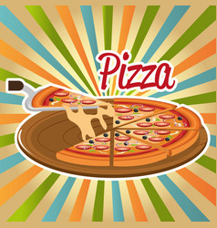 delicious italian pizza in carton tray vector image