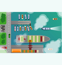 Dockyard harbor terminal aerial top view vector