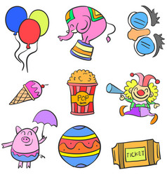Doodle circus colorful set hand draw vector