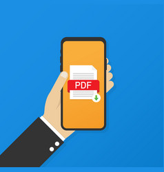Download pdf button on smartphone screen vector