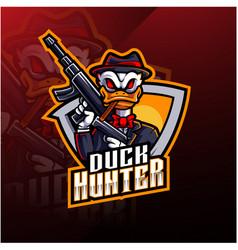 Duck hunter esport mascot logo design vector