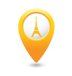 Eifel tower icon on map pointer yellow vector