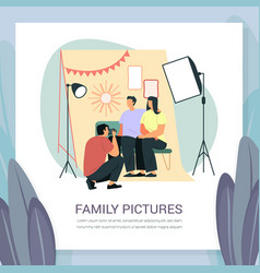 Family photoshoot with softbox light and frames vector