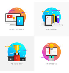 Flat designed concepts - video tutorials read vector