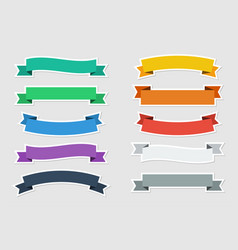 flat stickers ribbons in flat color on gray vector image