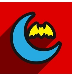 Flat with shadow Icon moon and bat on colored vector