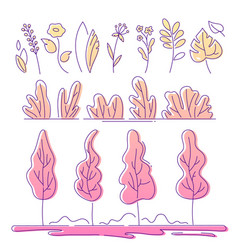 floral elements - modern flat design style vector image