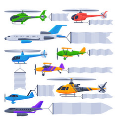 flying planes and helicopters with blank banners vector image