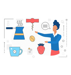 food cooking man character with tools line icon vector image