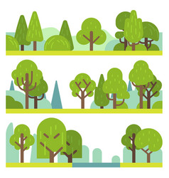 forest and park plants flat different trees vector image