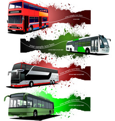 Four grunge banners with city buses vector