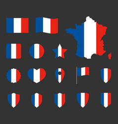 french flag symbols set france national flag vector image